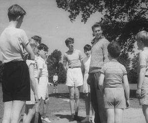 The Vicar trains the local boys in athletics