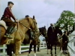 The horse men are ordered off to pursue Nicky (Margaret in Nicky's clothing)