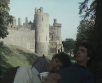 Mum and dad relax outside the castle