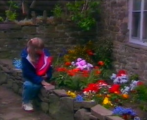 Nia finds her little flower garden has been looked after and a new wall constructed